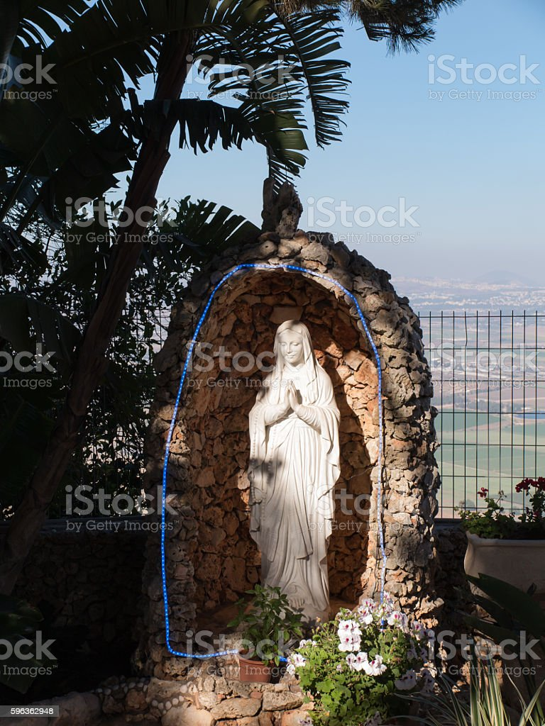 the statue of Mary near the monastery Muhraqa in Israel royalty-free stock photo