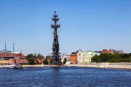 The statue of Peter the Great, a monument to Peter 1 with a height of 98 meters from the water of the Moskva River on a sunny summer day. Moscow, Russia, July 2021