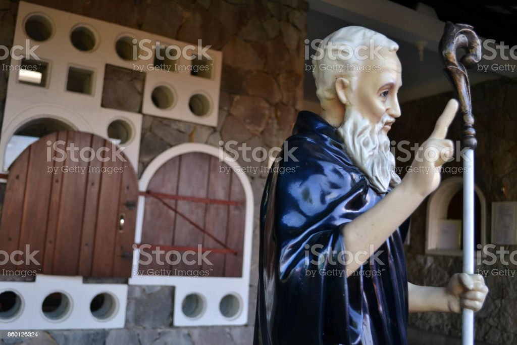 The statue of St. Benedict at one monastery (Trappistine Nun) in Indonesia stock photo