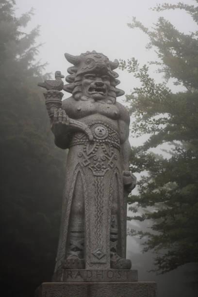 The statue of the pagan god of Slavs Radegast on mountain Radhost stock photo