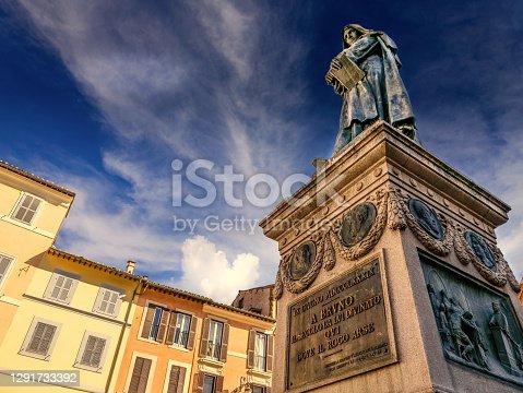 istock The statue of the philosopher Giordano Bruno in Campo de Fiori square in Rome 1291733392