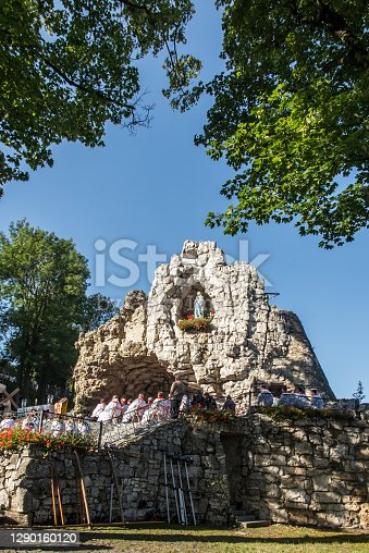 The statue of the Virgin Mary in the grotto at the sanctuary of St. Anna in Gora Swieta Anna (Mount St. Anne) in Poland