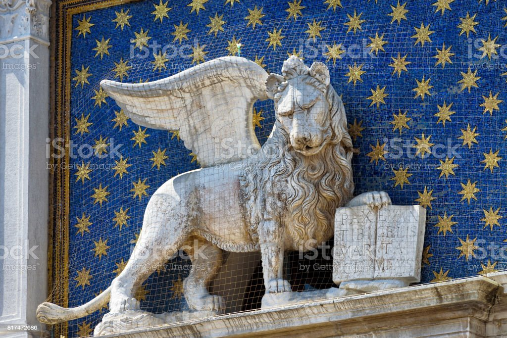 The statue of the winged lion in Venice stock photo