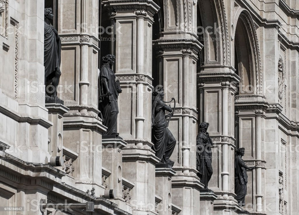 The statues on the facade of the theater in Vienna stock photo