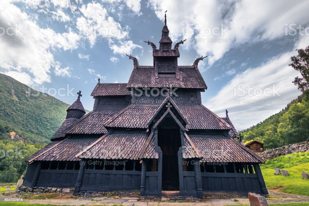The stave church of Borgund in Laerdal, Norway stock photo
