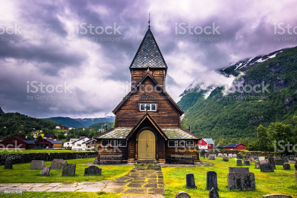 The Stave Church of Roldal, Norway stock photo