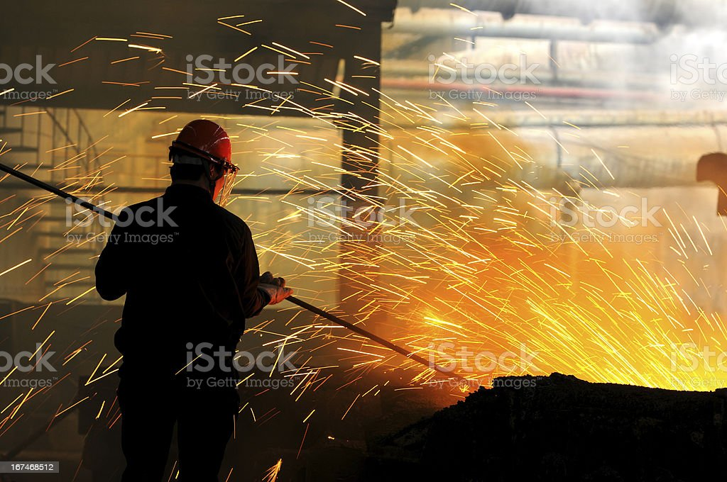 The steel and iron worker is working royalty-free stock photo