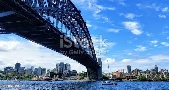 A view of the Harbour Bridge in Sydney from the land.