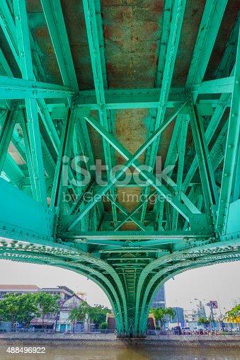 Steel construction from under the bridge