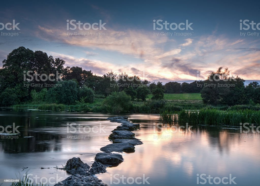 The Stepping Stones at Sunset stock photo
