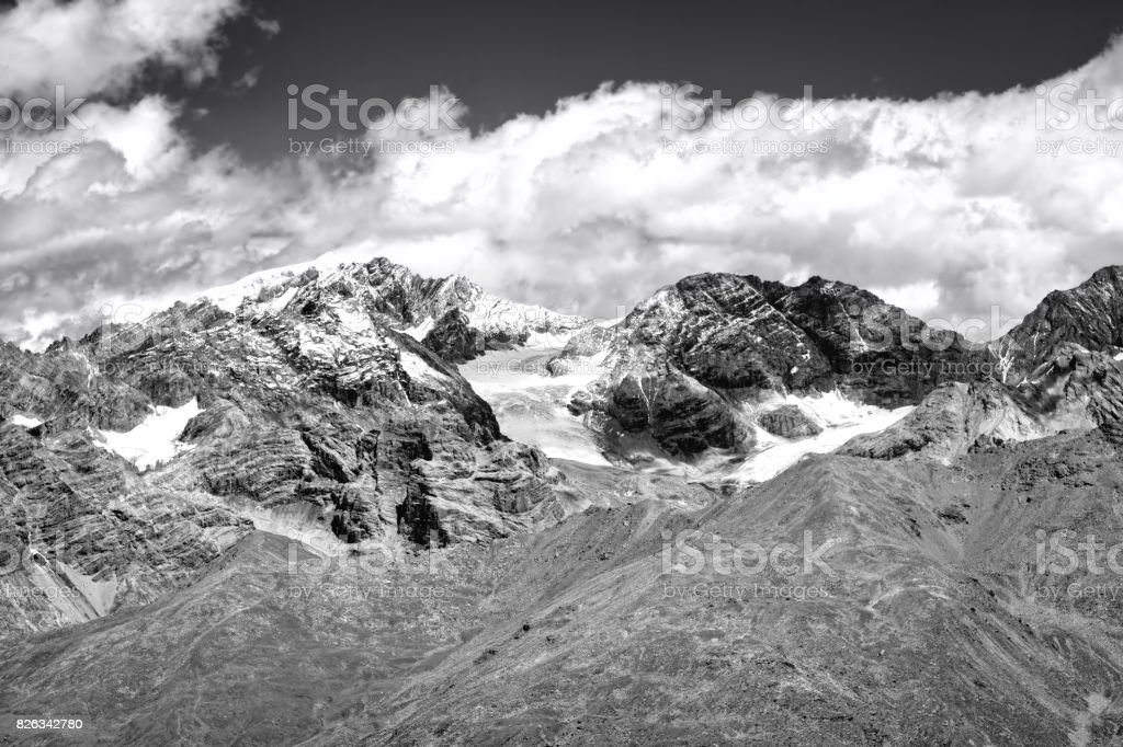 The Stevio Glacier. Black and white photo stock photo