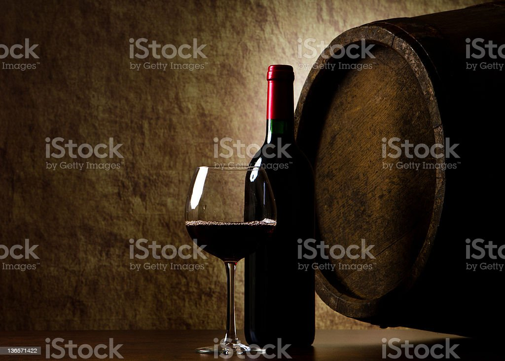 the still life with red wine, bottle, glass and old royalty-free stock photo