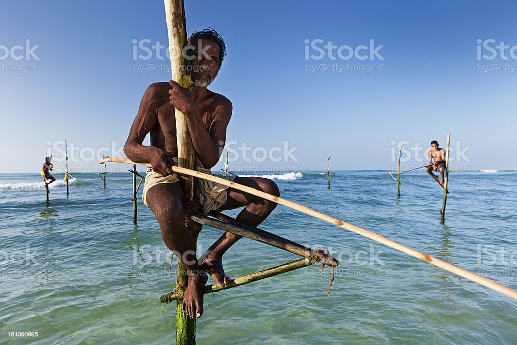 The stilt fishermen at work, Sri Lanka, Asia. stock photo
