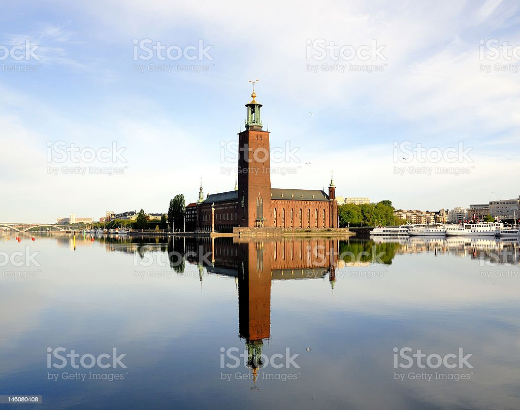 The Stockholm city hall overlooking the water royalty-free stock photo