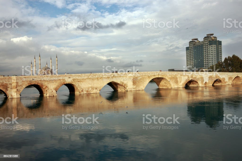 The Stone Bridge and Sabanci Mosque, Adana, Turkey royalty-free stock photo