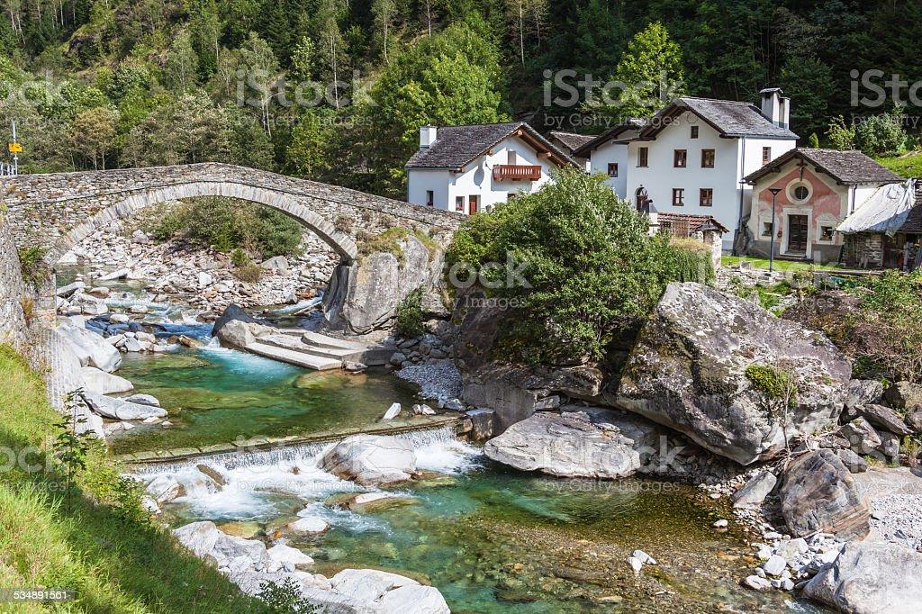 The stone bridge in Arvigo stock photo