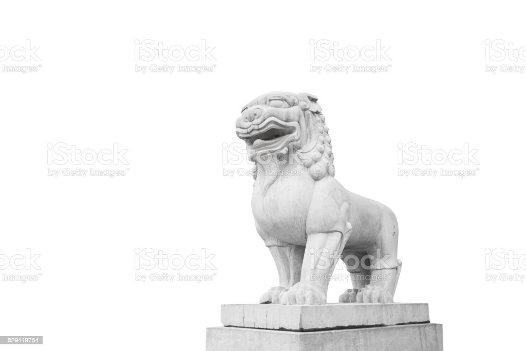 The Stone Lion - A Symbol of Power - China culture (with PATH) stock photo
