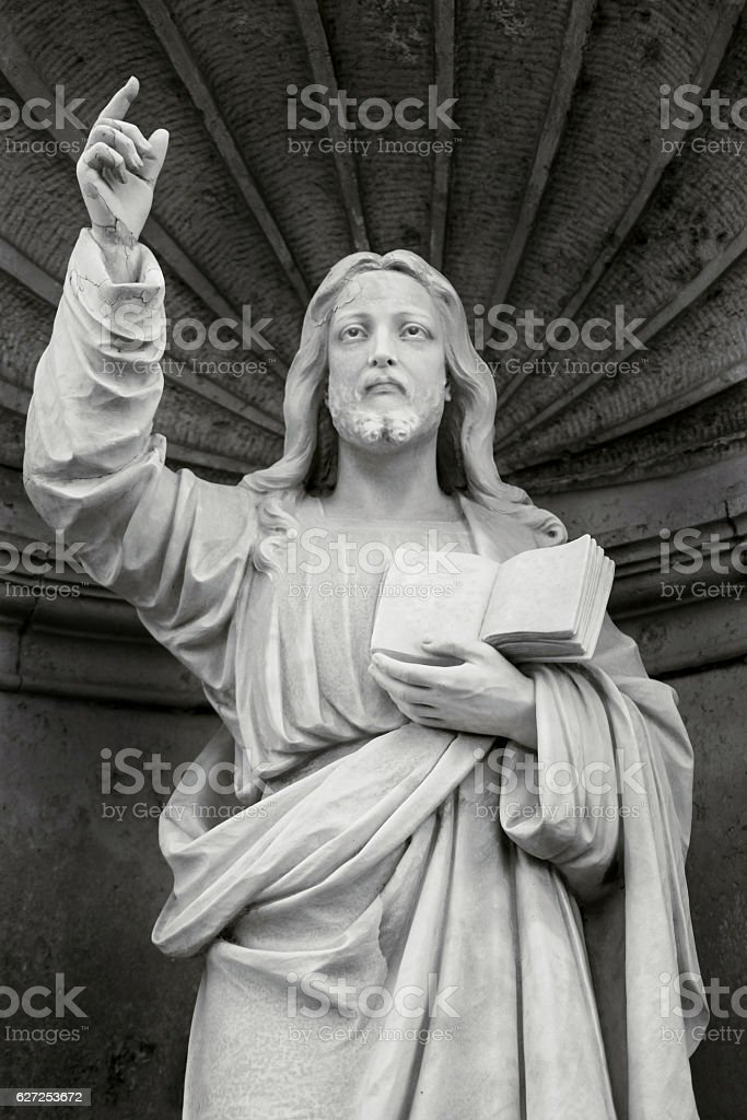 The stone monument of Jesus Christ stock photo