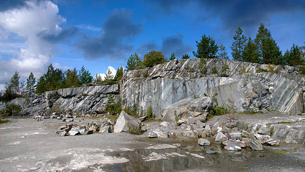 The stone mountain in mountain park Ruskeala The stone mountain in mountain park Ruskeala (Russia) republic of karelia russia stock pictures, royalty-free photos & images