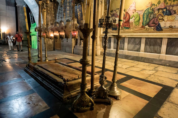 The Stone of Anointing, where Jesus' body is said to have been anointed before burial in the Church of the Holy Sepulchre in Jerusalem stock photo