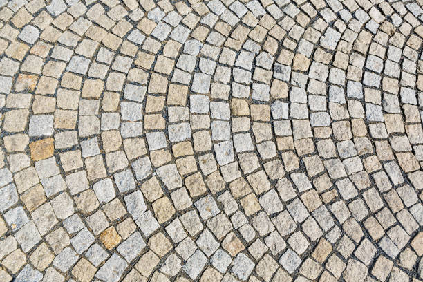 The stone pavement as the background texture, Stone block road pavement stock photo