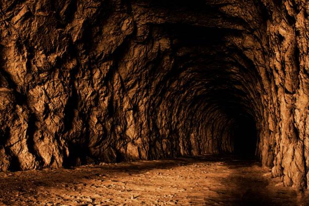 The stone secret cave inside stock photo