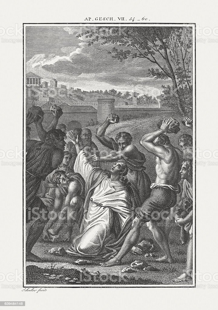 The Stoning of Stephen (Acts 7), copper engraving, published c.1850 stock photo