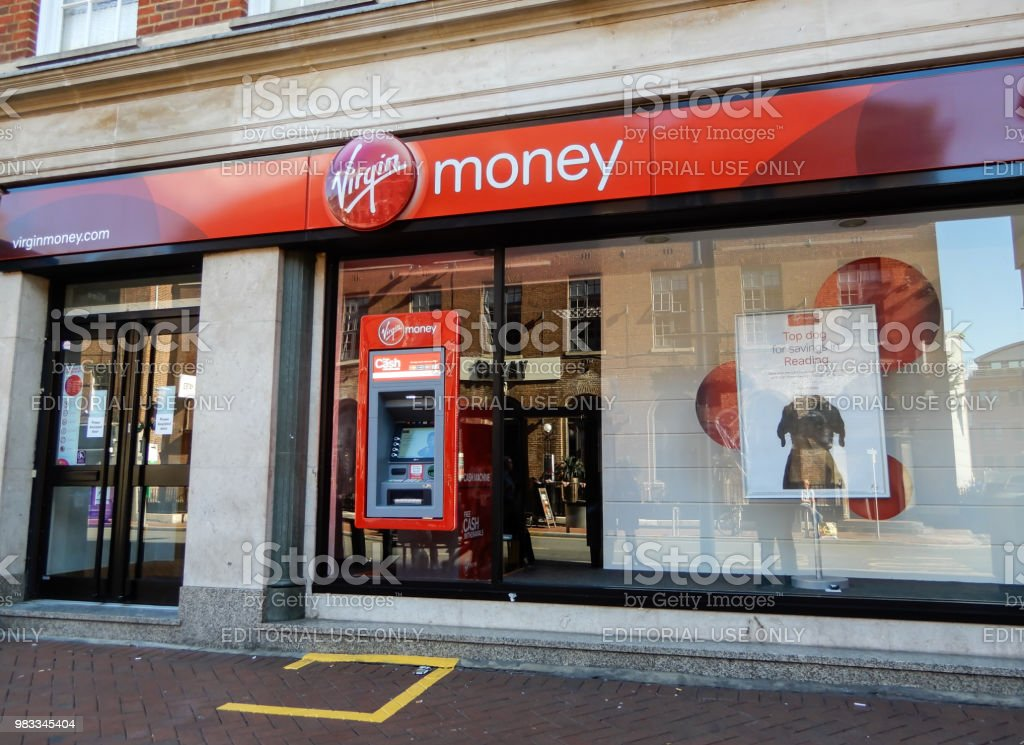 The store front of Virgin Money bank on Friar Street stock photo