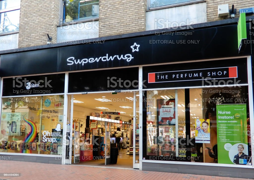 The store frontage of Superdrug Pharmacist and cosmetic store in Broad St stock photo