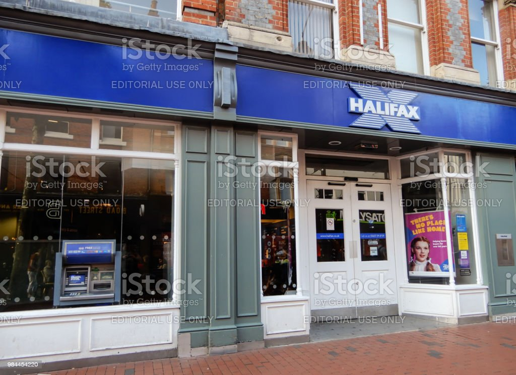 The store frontage of The Halifax bank in Broad St stock photo
