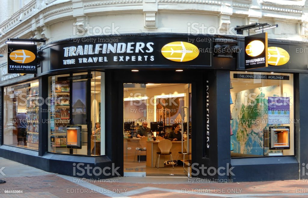 The store frontage of Trailfinders Travel Agent in Broad St stock photo