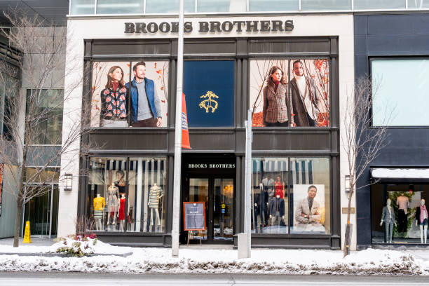 The storefront of the Brooks Brothers store at the Bloor-Yorkville Business Area in Toronto. stock photo