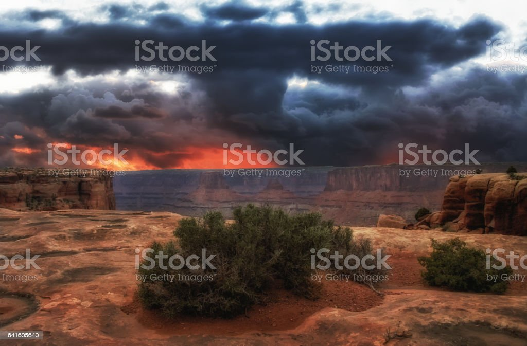 The Storm and the Red Rock stock photo