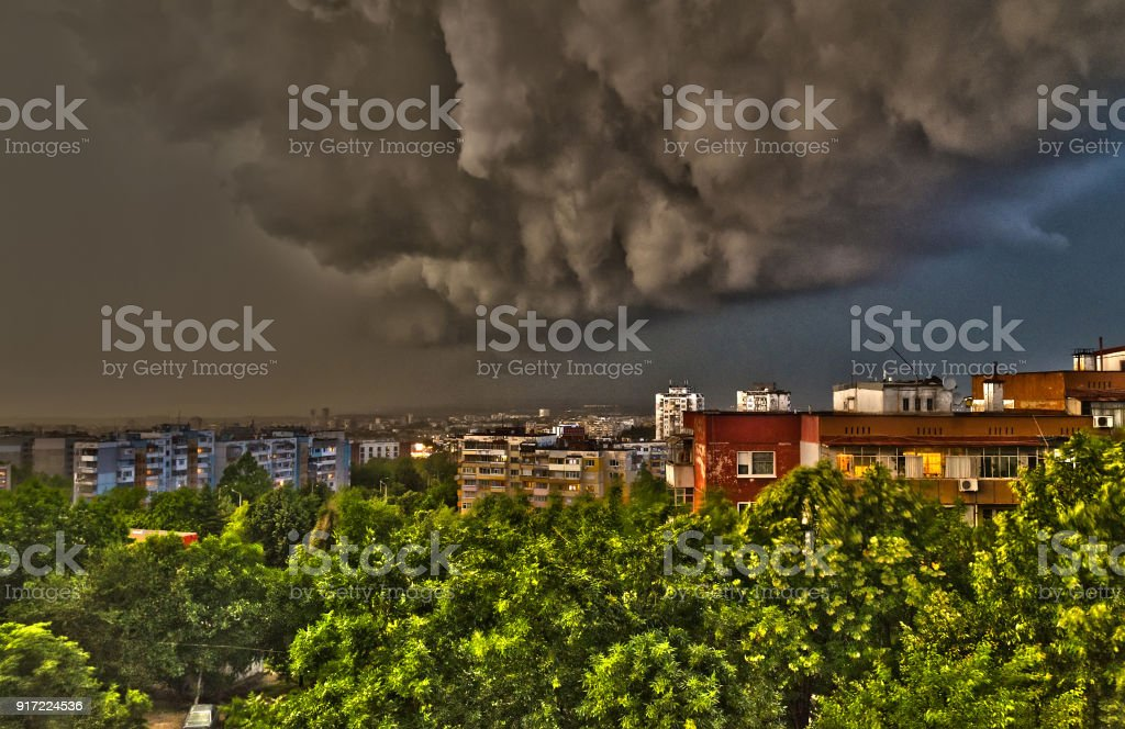 The storm in the spring time in Ruse, northern Bulgaria stock photo