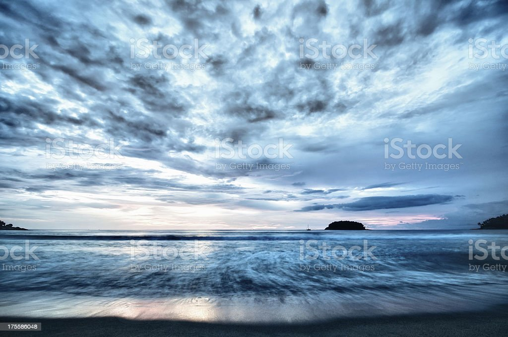The Storm is Coming Over Empty Beach royalty-free stock photo