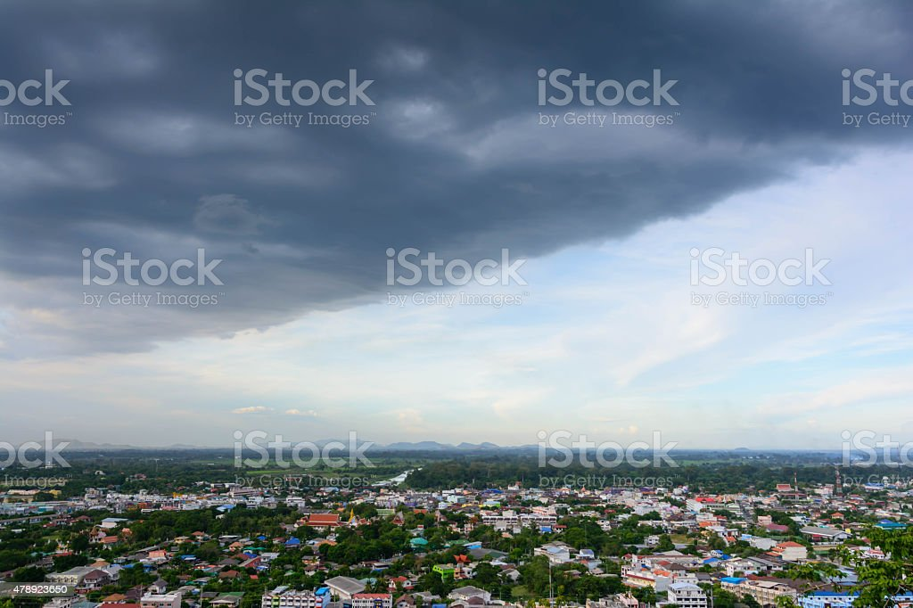 The storm was brewing over the city. stock photo