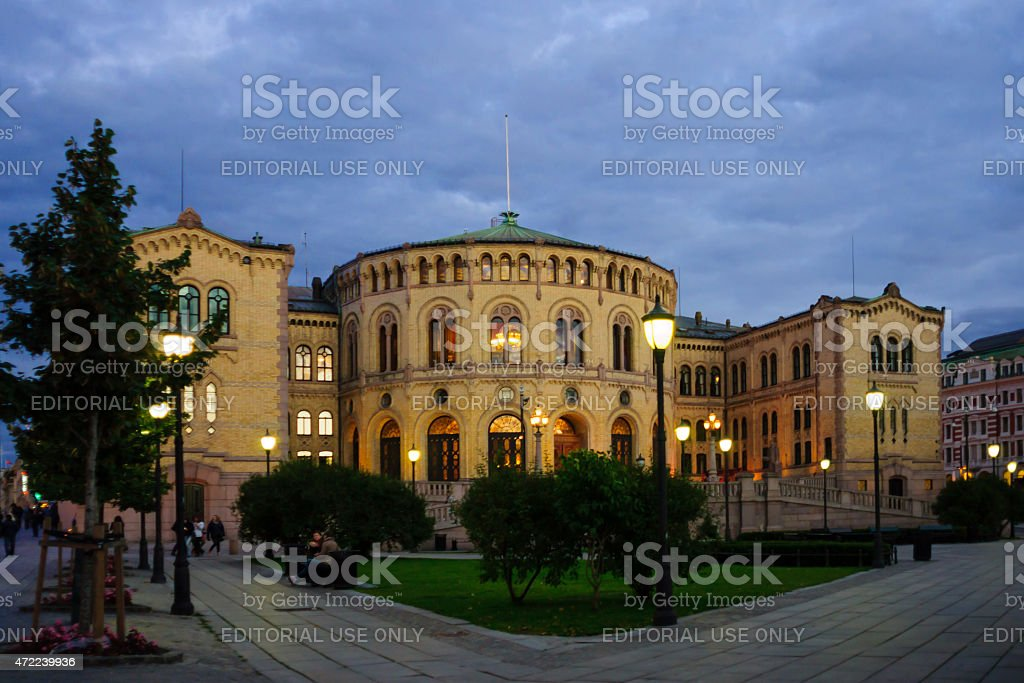 The Storting building, Oslo stock photo