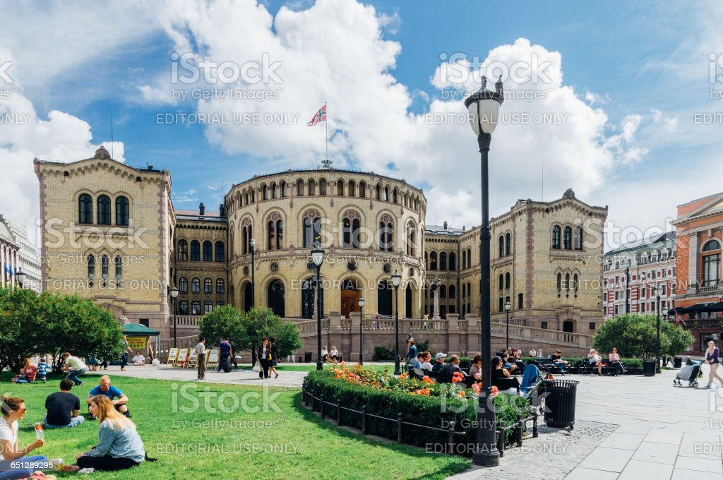 The Storting building, the parliament of Norway, Oslo stock photo