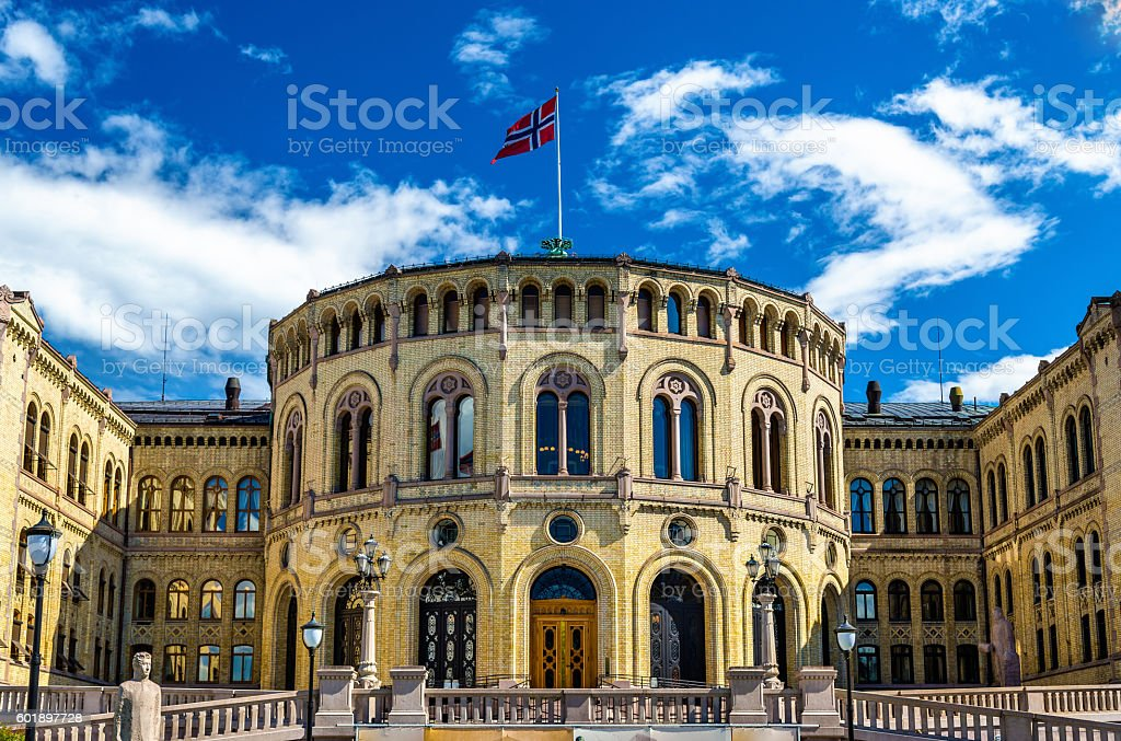 The Storting, Norwegian parliament in Oslo stock photo