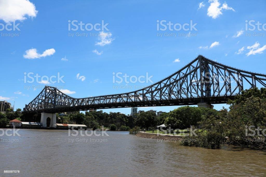 The Story Bridge in Brisbane over the Brisbane River, Queensland Australia stock photo