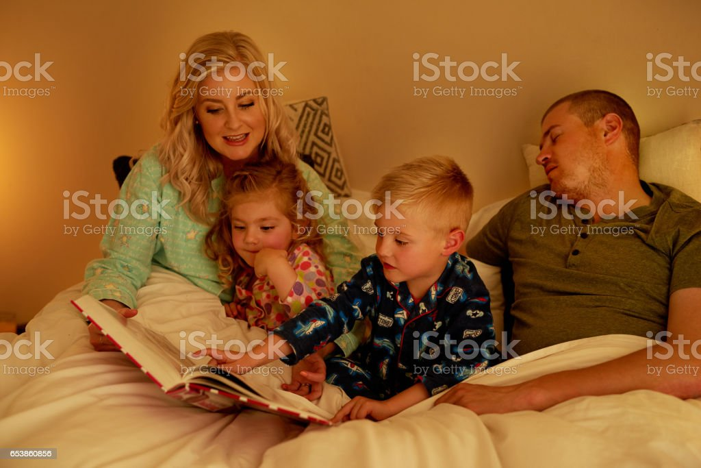 The story has already put Dad to sleep stock photo