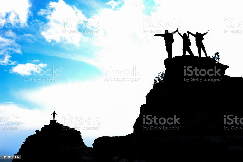 The story of reputable and friendly friendly climbers stock photo