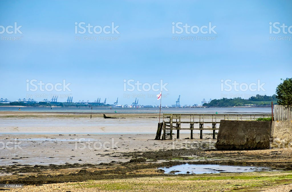 The Stour at Mistley with Felixstowe docks stock photo