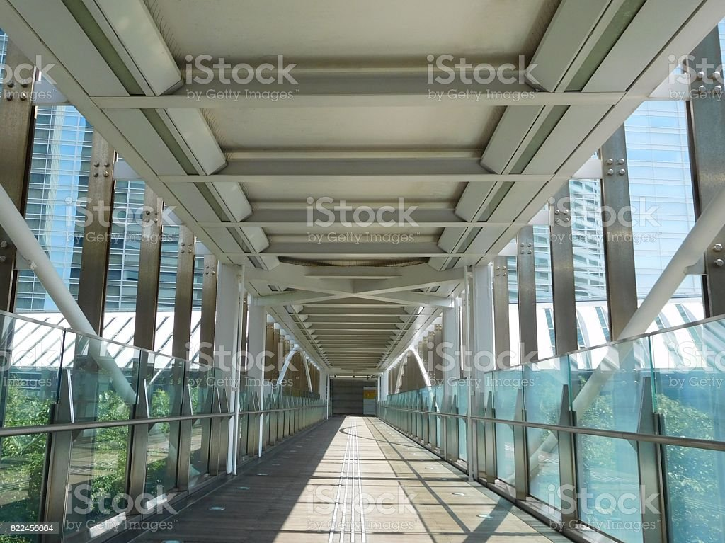 The straight passage on the footbridge in a commercial district stock photo