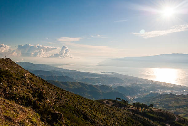 The strait of Messina from the summit of a mountain stock photo