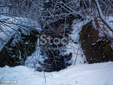the stream in the ditch in the winter , city Ivanteyevka