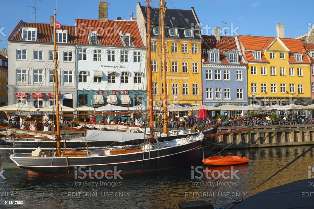 The street cafe on the waterfront of Neyhavn in Copenhagen. stock photo