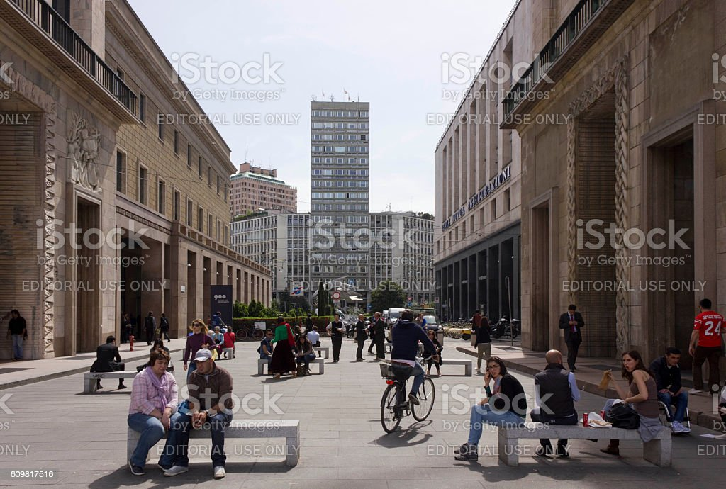 The street from Piazza del Duomo to Piazza Diaz stock photo
