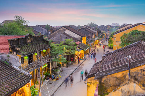 the street of old town Hoi An, Vietnam the street of old town huế stock pictures, royalty-free photos & images