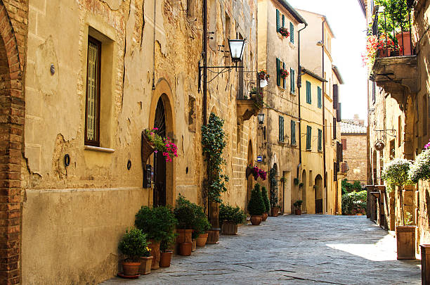 The street of Pienza, Italy A street of Pienza, Italy pienza stock pictures, royalty-free photos & images
